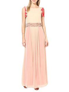 ATHENA - beige and peach georgette dress