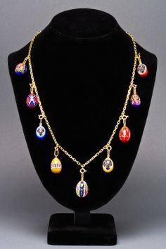Joan rivers faberge egg necklace google search eggs view this item and discover similar drop necklaces for sale at designed as an open link chain suspending nine hand painted egg pendants from st aloadofball Images