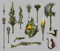 GW2 Biomancy Druid Weaponset Cosplay Weapons, Anime Weapons, Game Props, Guild Wars 2, Prop Design, Game Design, Mobile Art, Weapon Concept Art, Fantasy Weapons