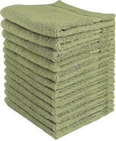 12 Piece Sage Green Washcloths Cotton Bathroom Hand Towels Free Shipping New