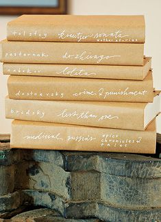 Kraft paper and gel pen covers. I often admire this look in others homes but 1) worry about the time to recover every single one of the books I have on display and 2) might miss the less affected display of the books as they were actually designed.