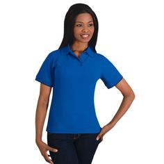Show details for Ladies Contrast Trim Pique Knit Polo Golfers, Contrast, Polo Shirt, Knitting, Lady, Jackets, Shirts, Fashion, Pique
