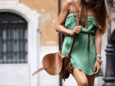 sea foam green dress, belt, satchel.
