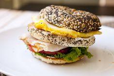 Leaning sandwich of bagels - Breakfast Club Sandwich