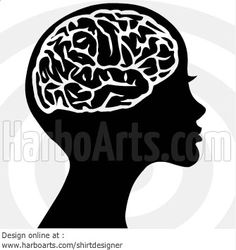 #Woman with a brain - Vector #clipart - DOWNLOAD >> http://harboarts.com/artwork/woman-with-brain-vector-graphic_1344614667107/ #feminist #freeyourmind #humanist #brains
