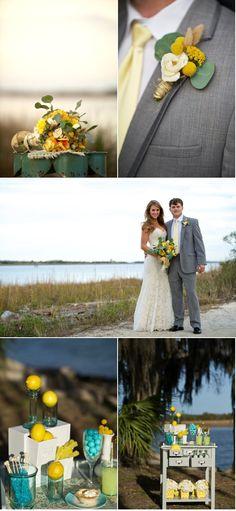 mariage jaune et turquoise