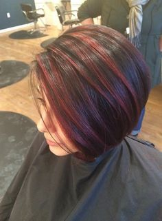 Red highlights, balayage, color melt, red highlights on dark hair short red hair Short Dark Hair, Short Hair Cuts, Short Hair Styles, Cabelo Ombre Hair, Balayage Hair Blonde, Balayage Color, Dark Hair With Highlights, Peekaboo Highlights, Red Peekaboo
