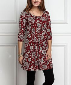 Burgundy Floral Empire-Waist Tunic Dress - Plus Too