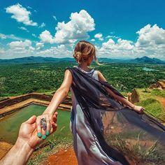 the ancient city of Sigiriya in Sri Lanka (the photo series by Russian Photographer, Murad Osmann) Murad Osmann, Travel Around The World, Around The Worlds, Destinations, Photo Series, More Photos, Rock Climbing, Sri Lanka, The Dream