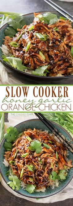 Slow Cooker Honey Garlic Chicken | Tender, moist, honey garlic chicken made easy in the slow cooker, and coated in the most glorious homemade honey garlic and orange sauce! | thechunkychef.com