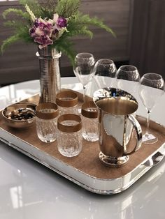Stainless Steel Containers, E Design, Tray, Entertaining, Table Decorations, Gifts, Home Decor, Coffee Nook, Table Scapes
