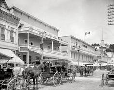 "Mackinac Island, Michigan, circa 1908. ""New Mackinac and New Murray Hotels."" 8x10 inch dry plate glass negative, Detroit Publishing Company."