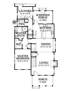 Cassatt Cottage House Plan Design from Allison Ramsey Architects - Floor Plan Floor Cottage Floor Plans, Dream House Plans, House Floor Plans, The Plan, How To Plan, Florida House Plans, Southern House Plans, Unique Floor Plans, Home Design Floor Plans