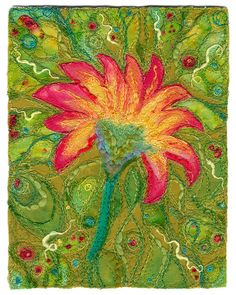 """Sunburst Flower    Fabric art collage with machine and hand embroidery, sewing, yarns and threads.   SOLD.   Private collection, Vancouver, BC.    approx. 5 1/2"""" x 7""""    www.chursinoff.com/kirsten/"""