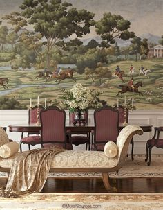 Our new design, the Jefferson Country mural, depicts iconic Virginia landscapes from Monticello to scenic pastoral views. It comes in two color ways, full color and sepia with pops of red and yellow. Scenic Wallpaper, Wall Art Wallpaper, Interior Wallpaper, Chinoiserie Wallpaper, Mural Art, Wall Murals, Blue Willow Decor, Primitive Dining Rooms, Traditional Dining Rooms