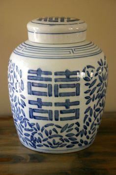 Vintage Blue and White Ginger Jar by OfAllTheFishVintage on Etsy, $45.00