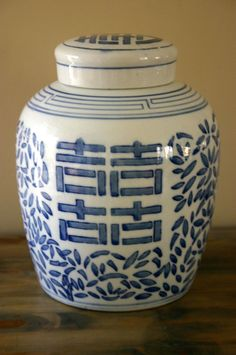 Vintage Blue and White Ginger Jar