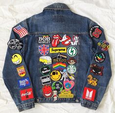 Items similar to Patched Jean Jacket / Patched Denim / Upcycled Custom Jacket / Reworked Vintage Jean Jacket with Patches Men Size S Unisex Adult on Etsy Denim Jacket Patches, Patched Jeans, Denim Jacket Men, Camouflage Jacket, Camo Jacket, Vintage Jeans, Custom Denim Jackets, Unisex, Iron On Patches