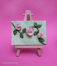 Polymer Clay Roses on Canvas Canvas Mini by Sandyscreationinclay, $17.00