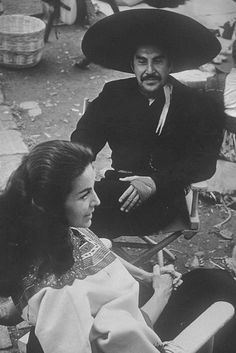 María Félix with the incomparable movie director Emilio -El Indio Fernandez. He was responsible for many classic Mexican movies.