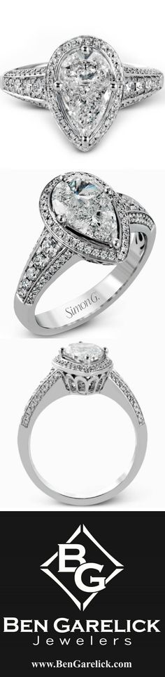 """Simon G. White Gold """"Large Center"""" Pear Cut Diamond Halo Engagement Ring Featuring Carat Two-Piece Mosaic Diamond Center with Carats Round Cut Diamonds. Pear Diamond, Pear Shaped Diamond, Round Cut Diamond, Diamond Rings, Diamond Jewelry, Halo Diamond Engagement Ring, Engagement Rings, Thing 1, White Gold Rings"""