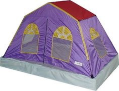 The tent fits over a double-size bed, and features a removable, washable sheet. A large door on the side makes getting in and out of the tent simple for easy sleep and play. Removing the sheet to wash it does not require taking down the tent. Girls Bed Tent, Bed Tent Twin, Kids Canopy, House Canopy, Double Play, Childrens Beds, Cotton Sheets, Kids Sleep, Tent Camping