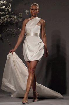 modern ivory mini sash short wedding dresses