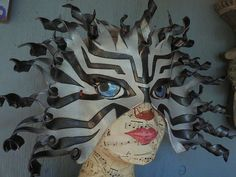 Black and White Lionfish mask one of a kind leather by faerywhere, $145.00