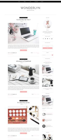 Blogger Template - Wonderlyn by Vefio Themes on @creativemarket