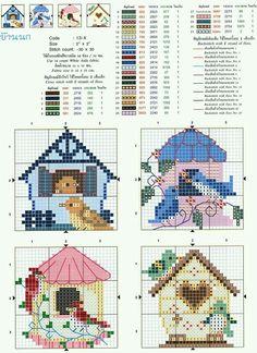 Bird Embroidery Pattern Birdhouses 67 Ideas For 2019 Cross Stitch House, Cross Stitch Boards, Mini Cross Stitch, Cross Stitch Animals, Cross Stitch Flowers, Bird Embroidery, Cross Stitch Embroidery, Embroidery Patterns, Counted Cross Stitch Patterns