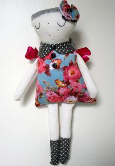 Handmade Stuffed Doll Rag Doll Cuddly Softie Plush by Fililishop