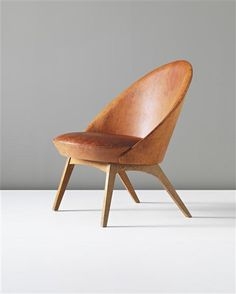 Ejvind A. Johansson, Leather and Oak Low Easy Chair for Ludvig Pontoppidon, c1955.