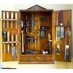 Meredith Nicole's tool cabinet is more than old and was handed down to her. Woodworking Garage, Studio Furniture, Wood Tools, Tool Organization, Quality Furniture, Home Crafts, Wood Projects, Home Goods, Custom Design