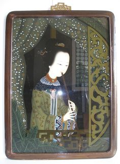 Chinese Reverse Painting on Glass ,Qing