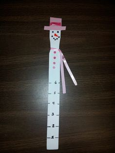 Paint Stick Snowman Snow Gauge All You Need Is White Old Cards For Hat And Ons Ribbon Scarf Permanent Markers