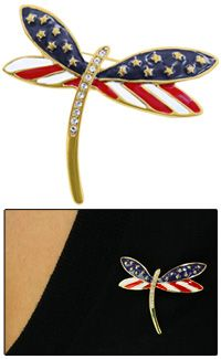 """Freedom to Fly Dragonfly Pin at The Veterans Site $12.95 The freedom of the American spirit meets the lofty flight of the dragonfly in a pin that makes the heart soar. A fitting accessory for the fashion-forward patriot, and a standout piece of jewelry every day of the week.    Silver-tone metal, crystals, & enamel  1.75"""" sq. (4.4 cm)"""