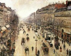 Camille Pissarro - Boulevard Montmartre on a Cloudy Morning  (1897)
