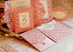 Roses Lace Wedding Luxury Envelope Card Template cutting file