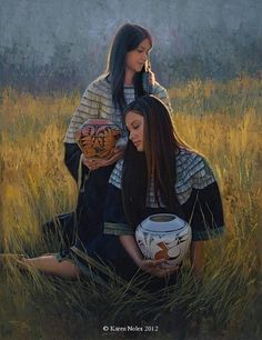 """Traded Treasures"" Original Oil 42"" x 32"" -Available Western and Native American Original Paintings by Karen NolesCall (406) 883-2920 for pricing information."