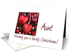 Aunt, Wishing you a Lovely Christmas, red ornaments card  Christmas is in the air!    Wishing you Joy,   Wishing you Love,   Wishing you Happiness   and a Lovely Christmas, too!