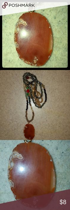 Druzy Geod Slice Necklace Orange druzy geod slice necklace. Long beaded gold chain. New without tags. Jewelry Necklaces