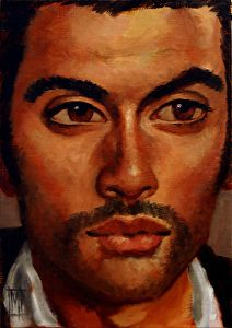 NEW MEN XLVI by #artist Mollie Erkenbrack. Oil painting found on the FASO Daily Art Show - http://dailyartshow.faso.com