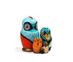 Custom Russian Owls  Hand Painted wood by caleighill on Etsy, £48.00