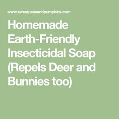 Homemade Earth-Friendly Insecticidal Soap (Repels Deer and Bunnies too)