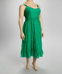 Another great find on #zulily! Green Crocheted Trim Sleeveless Dress - Plus #zulilyfinds