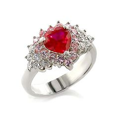 Silver Heart Ring with Ruby Cubic Zirconia - Romantic Jewelry, VORI03-01933