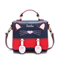 Cat Pattern Cute Purse Red and Navy Flap Crossbody Handbags 83c84d89dc007