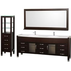 Wyndham Collection Daytona 78 in. Vanity in Espresso with Glass Vanity Top in White
