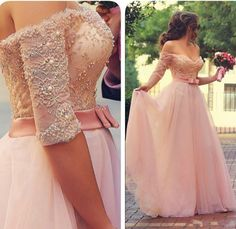 half sleeve pink prom dresses long lace appliqué beaded peals elegant off the shoulder prom gown robe de soiree 2020 Princess Prom Dresses, Prom Dresses 2016, Pink Prom Dresses, A Line Prom Dresses, Tulle Prom Dress, Party Gowns, Wedding Party Dresses, Dress Party, Pink Dress