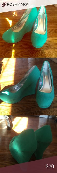 Teal wedges Adorable teal wedges. Only work once. No trades but reasonable offers considered. Shoes Wedges